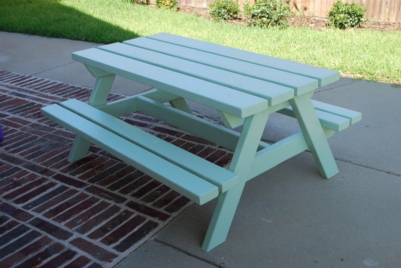 Wood Picnictable Picnic Table Teal For Sale On Forsalephoto - Teal picnic table